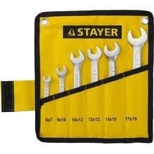 Набор рожковых ключей 6 предметов 6-19 мм STAYER PROFI 27035-H6