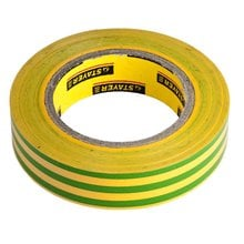 Изолента ПВХ желто-зеленая 15 мм 10 м STAYER PROFI 12292-S-15-10