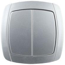 Выключатель АКЦЕНТ двухклавишный в сборе, цвет серебристый металлик, 10А/~250В СВЕТОЗАР SV-54234-SM