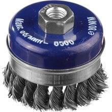 Щетка чашечная усиленная для УШМ жгутированная стальная проволока 80 мм М14 DEXX 35106-080