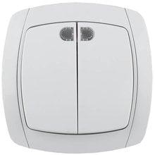 Выключатель CITY LIGHT двухклавишный в сборе, с подсветкой, белый, 10А/~250В СВЕТОЗАР SV-54235-W