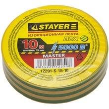 Изолента ПВХ 5000 В желто-зеленая 15 мм 10 м STAYER MASTER 12291-S-15-10