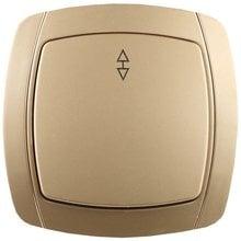 Выключатель АКЦЕНТ проходной одноклавишный в сборе, цвет золотой металлик, 10А/~250В СВЕТОЗАР SV-54237-GM