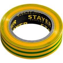 Изолента ПВХ, не поддерживает горение, 10 м (0,13х15 мм) желто-зеленая STAYER 12291-S