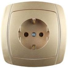 Розетка АКЦЕНТ одинарная в сборе, с заземлением, цвет золотой металлик, 16А/~250В СВЕТОЗАР SV-54205-GM