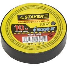 Изолента ПВХ 5000 В черная 15 мм 10 м STAYER MASTER 12291-D-15-10