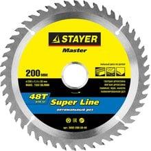 Диск пильный по дереву STAYER Master super-Line 3682-200-30-48