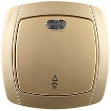 Выключатель АКЦЕНТ проходной одноклавишный в сборе, с подсветкой, цвет золотой металлик, 10А/~250В СВЕТОЗАР SV-54238-GM