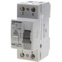 Выключатель дифференциальный (УЗО) 2-полюсный 40А 30мА СВЕТОЗАР SV-49152-30-40