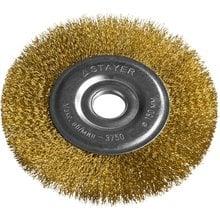 Щетка дисковая для УШМ витая стальная латунированная проволока 150 мм STAYER PROFI 35122-150