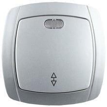 Выключатель АКЦЕНТ проходной одноклавишный в сборе, с подсветкой, цвет серебристый металлик, 10А/~250В СВЕТОЗАР SV-54238-SM