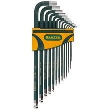 Набор дюймовых удлиненных имбусовых ключей 13 предметов HEX SAE 0.05-3/8 Kraftool INDUSTRIE 27444-H13