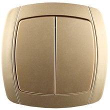 Выключатель АКЦЕНТ двухклавишный в сборе, цвет золотой металлик, 10А/~250В СВЕТОЗАР SV-54234-GM