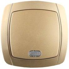 Выключатель АКЦЕНТ одноклавишный в сборе, с подсветкой, цвет золотой металлик, 10А/~250В СВЕТОЗАР SV-54231-GM
