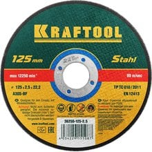 Круг отрезной абразивный по металлу 125x2.5x22.23 мм Kraftool 36250-125-2.5
