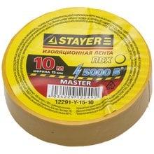 Изолента ПВХ 5000 В желтая 15 мм 10 м STAYER MASTER 12291-Y-15-10
