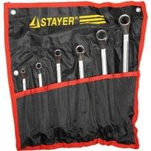 Набор накидных гаечных ключей изогнутых 6 шт, 6 - 22 мм STAYER 27151-H6