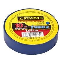 Изолента ПВХ 5000 В синяя 15 мм 10 м STAYER MASTER 12291-B-15-10