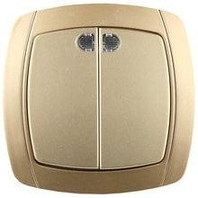 Выключатель АКЦЕНТ двухклавишный в сборе, с подсветкой, цвет золотой металлик, 10А/~250В СВЕТОЗАР SV-54235-GM