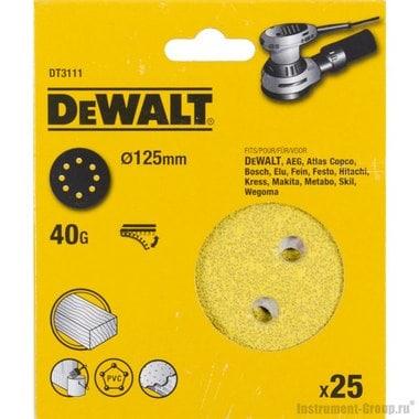 Шлифовальный круг DeWalt DT 3111 (125 мм; К40; 25 шт; ддерева,краски)