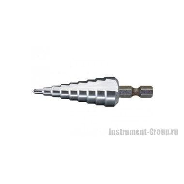 Сверло ступенчатое спиральное по металлу Makita D-40141 (HSS; 9 ступеней; 4-12 мм; хв-6-ти гран 1/4)