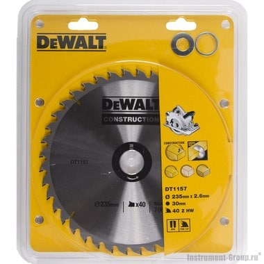 Диск пильный DeWalt DT 1157 (235х30х1.7 мм; 40 зуб.; для стр. материалов)