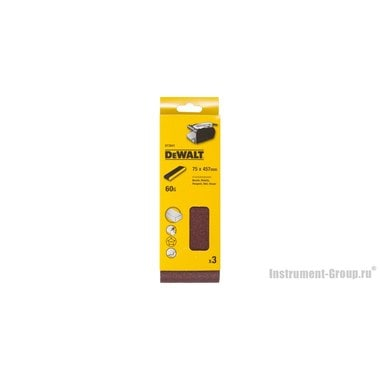 Лента шлифовальная DeWalt DT 3641 (75х457 мм; К60; 3 шт; для дерева, краски)
