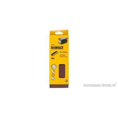 Лента шлифовальная DeWalt DT 3642 (75х457 мм; К80; 3 шт; для дерева, краски)
