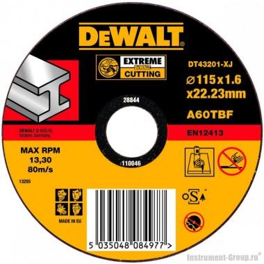 Диск отрезной по металлу DeWalt DT 43201 (115х22.2х1.6 мм; EXTREME)