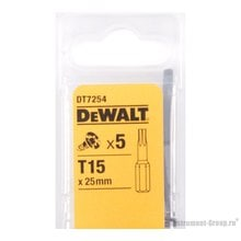 Биты Тоrх Т15 (25 мм; 5 шт.) DeWalt DT 7254
