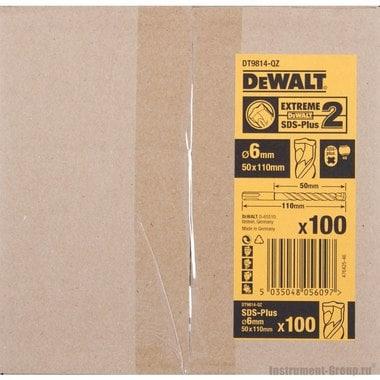 Бур SDS-plus DeWalt DT 9814 (6х50x110 мм; 4-х спиральный; Extreme2; 100шт.)
