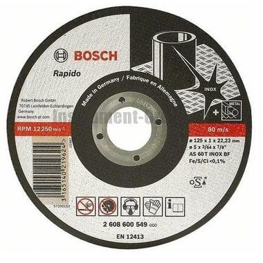 Диск отрезной по нержавеющей стали Bosch 2.608.600.549 (125х22,2х1 мм)